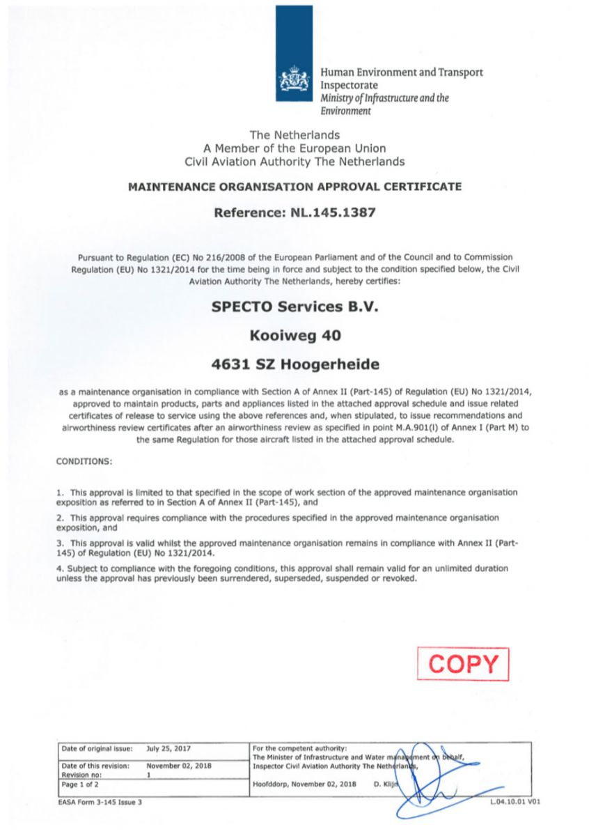 EASA-Part-145-certificate-SPECTO-Services-02-November-2018