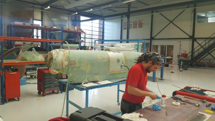 Canoe fairing repair in progress at SPECTO Aerospace